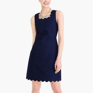 J. Crew | Navy Scalloped Cotton Sheath Dress Sz 10